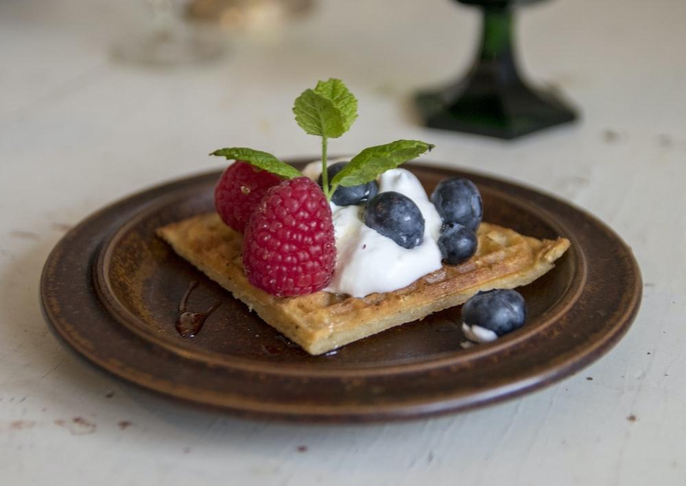 dessert with raspberry top