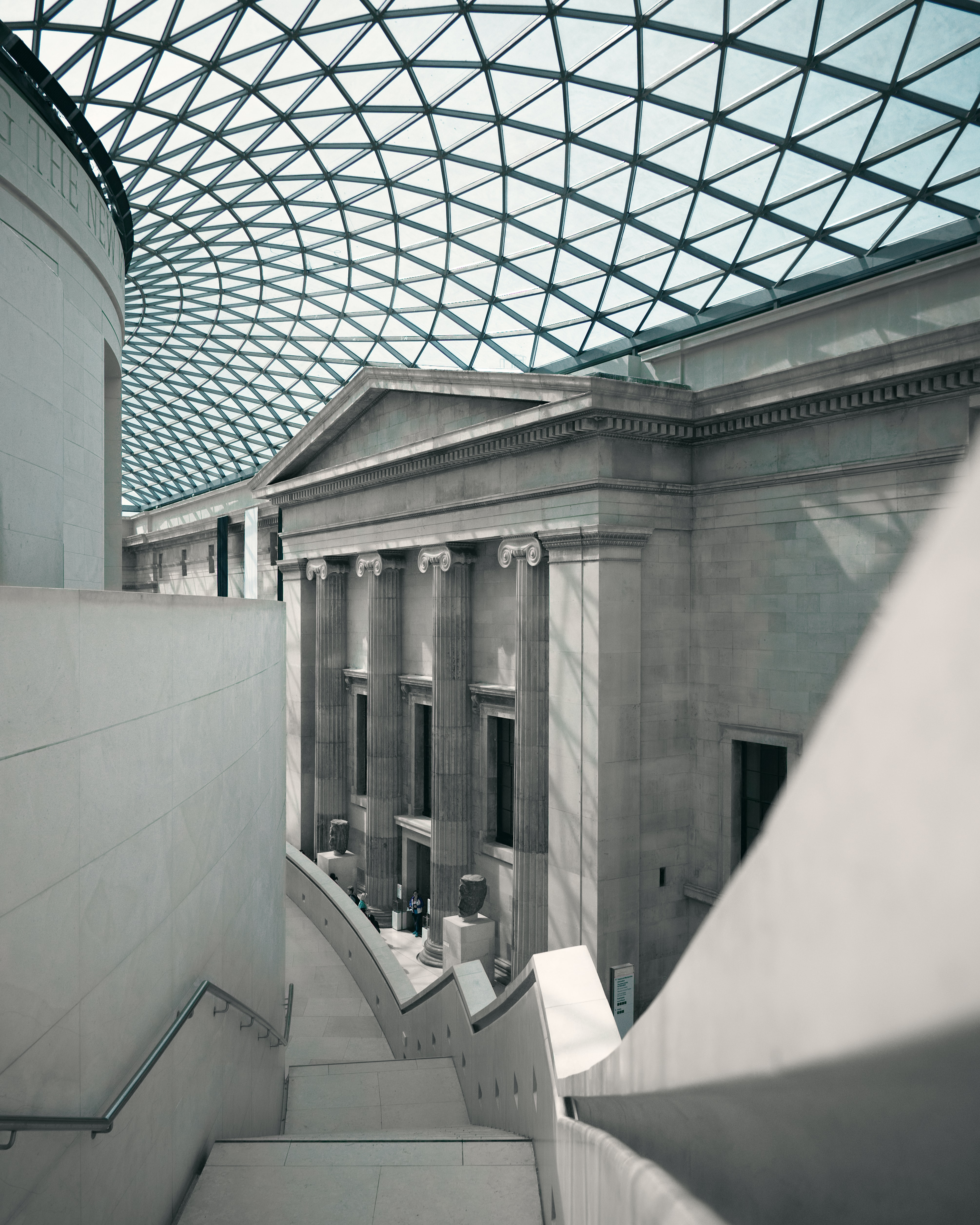 photo of staircase and glass roof