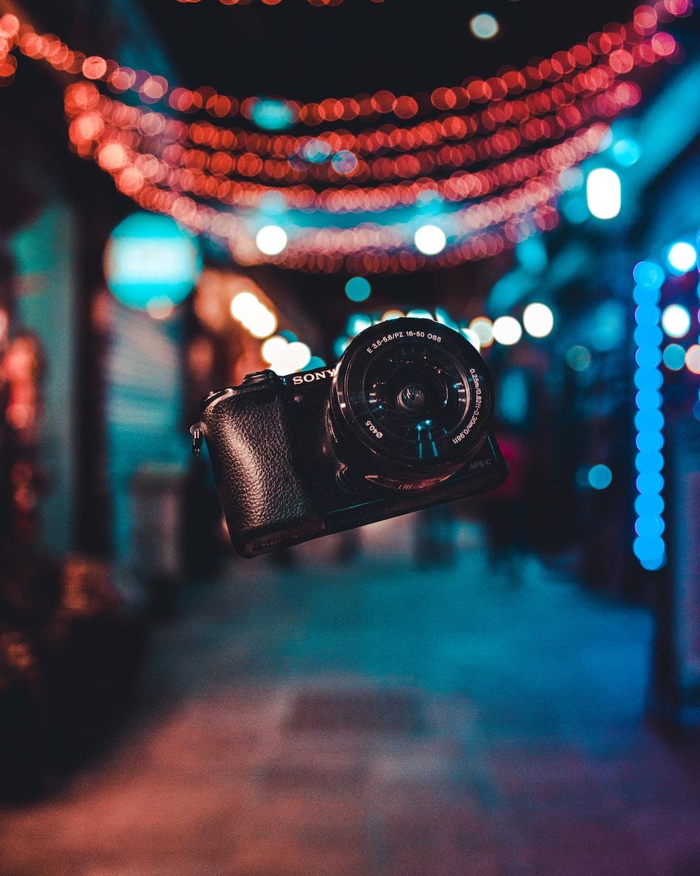 black Sony Alpha DSLR camera