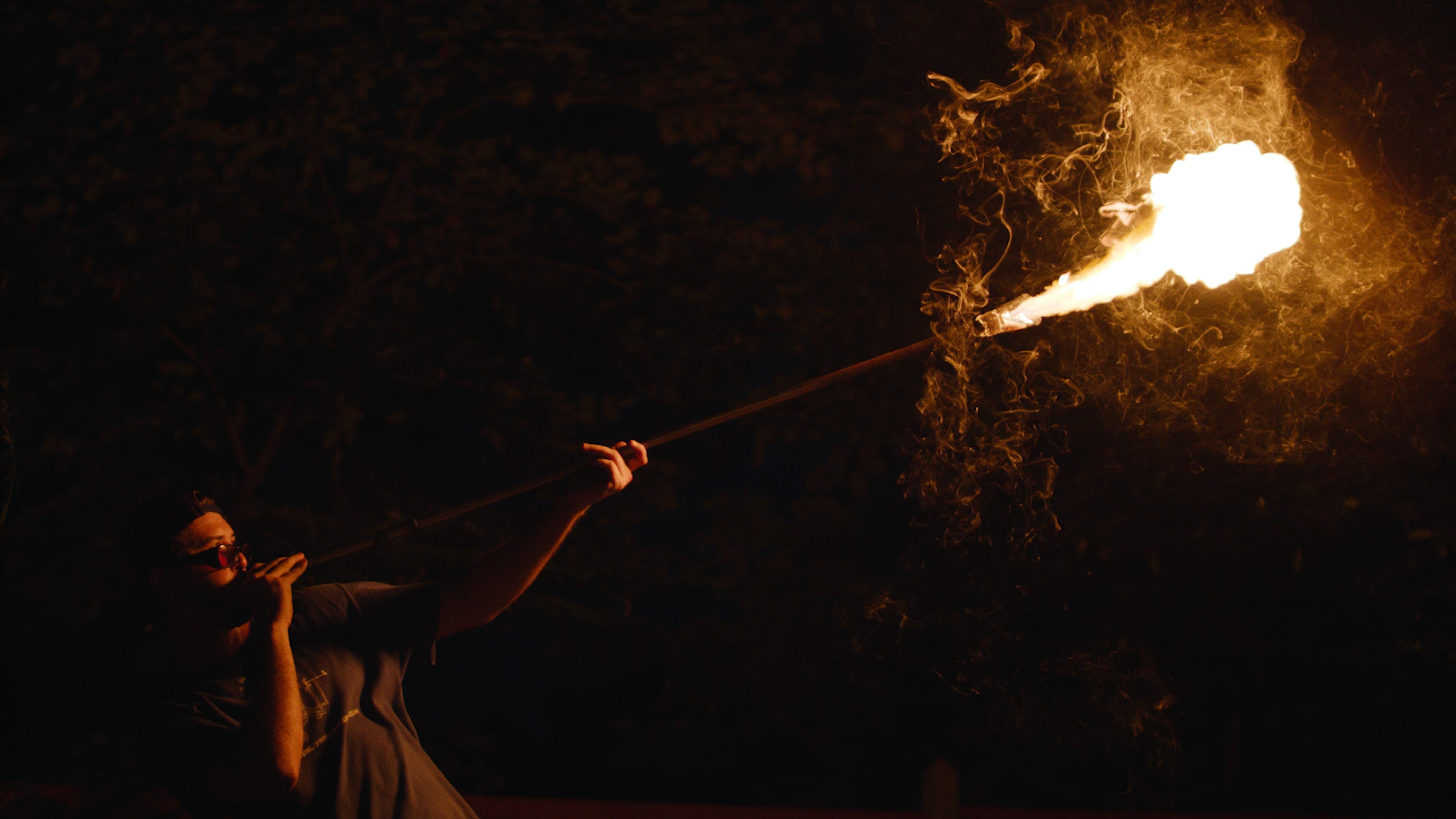 man making fire