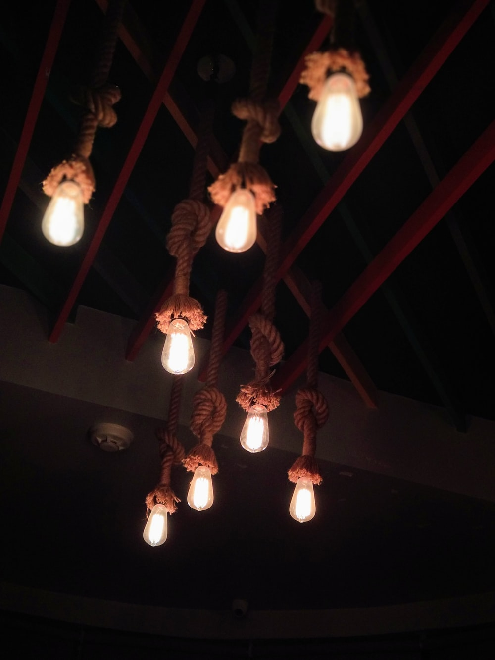 lighted rope and wood lamp