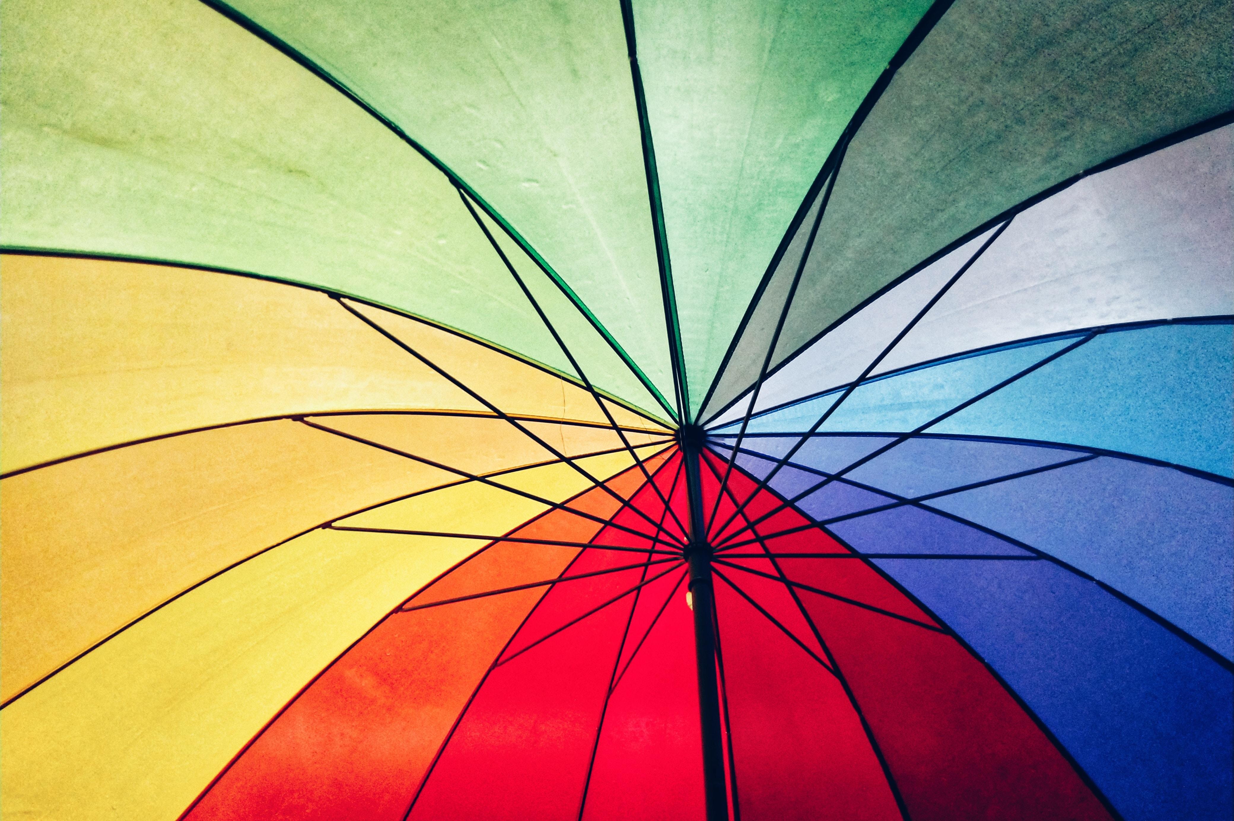 close-up of multicolored umbrella