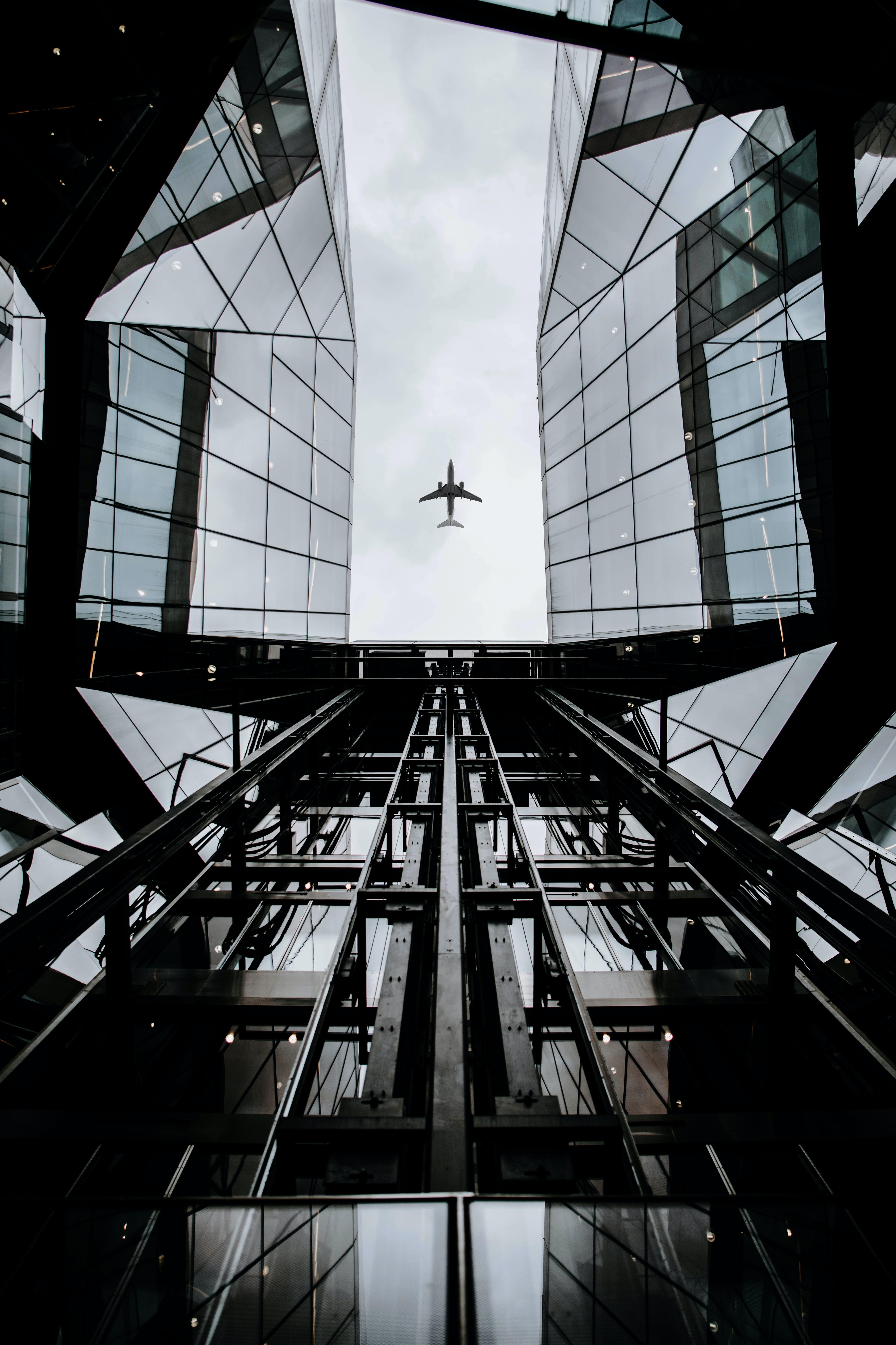 high-angle photography of plane on air