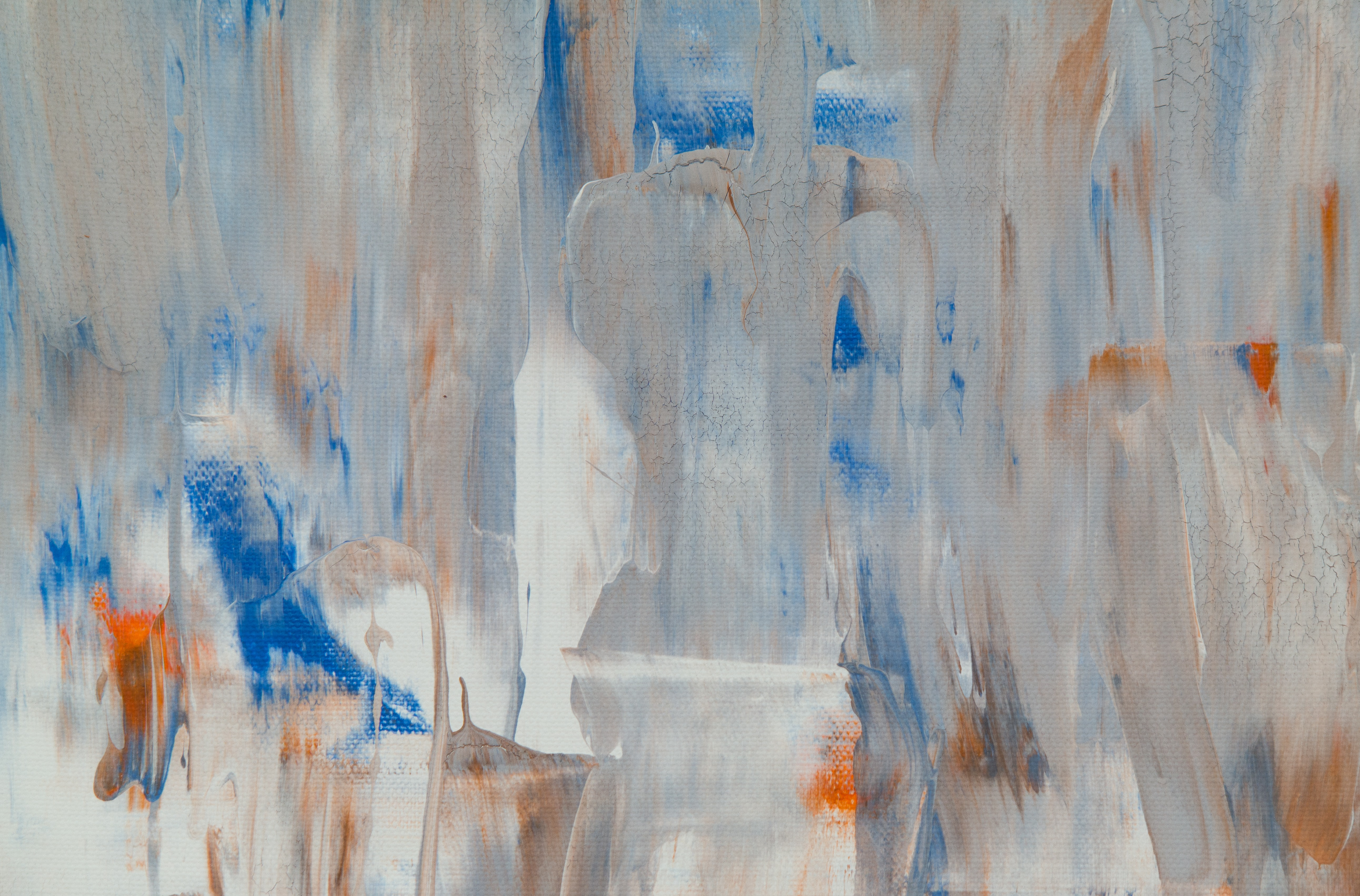 white, gray, blue, and orange abstract painting