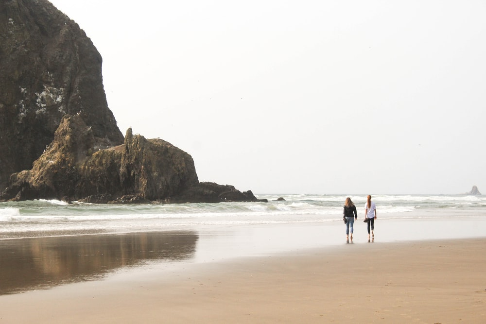 two person standing on sea shore