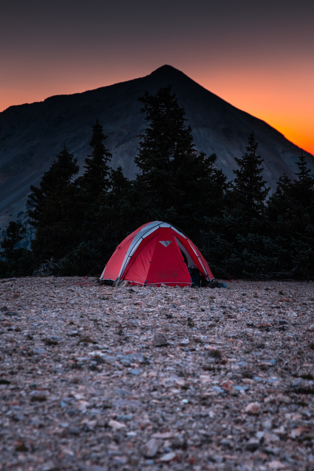 red and gray done tent near tree