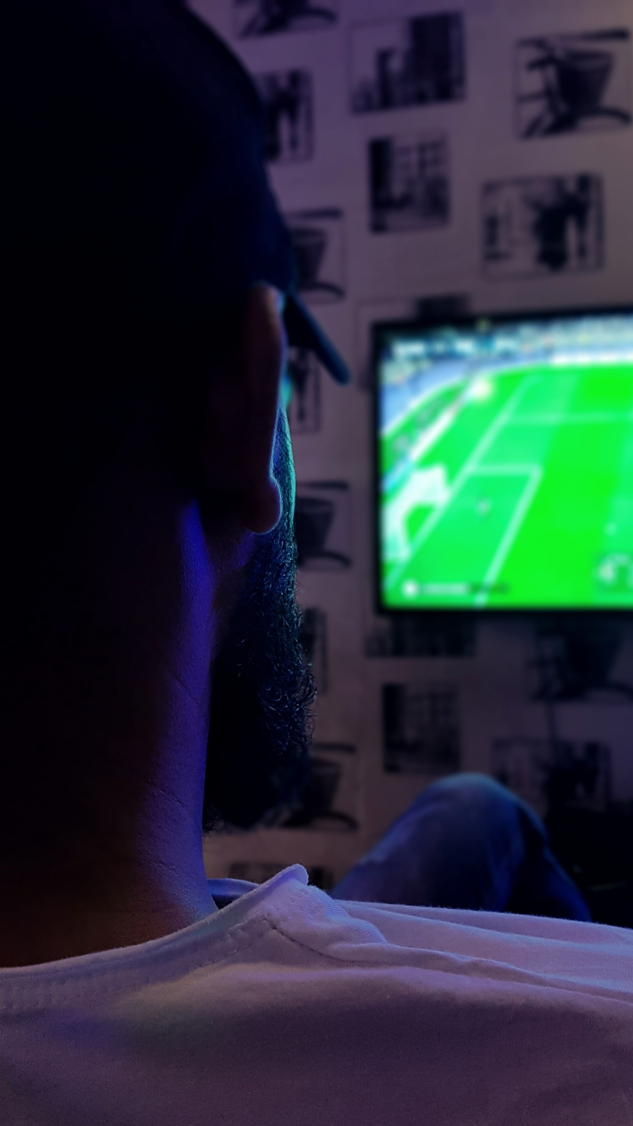 man watching soccer game