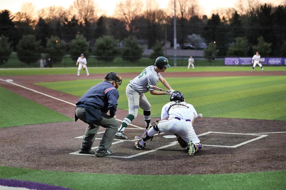 group of men playing baseball