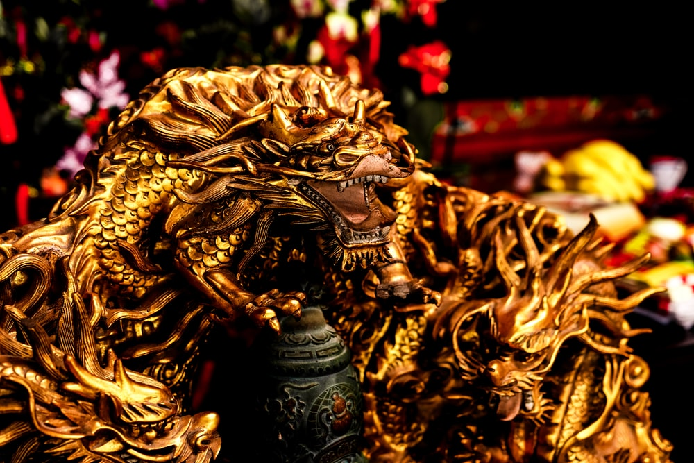 gold chinese dragon figurine