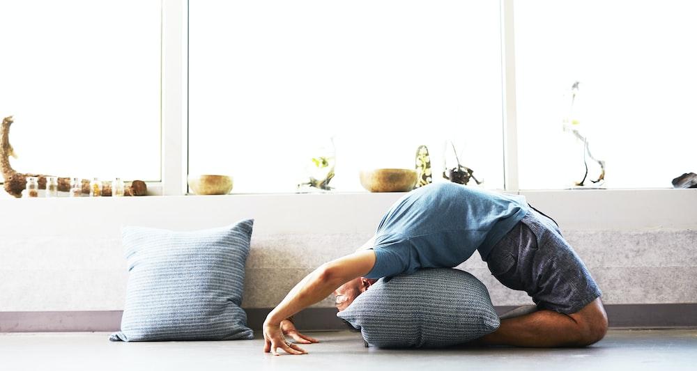 man doing yoga session