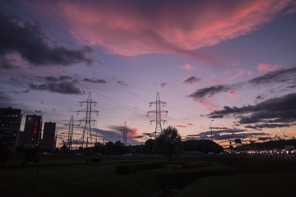 Silhouette Photography Of Electrical Posts Photo Free