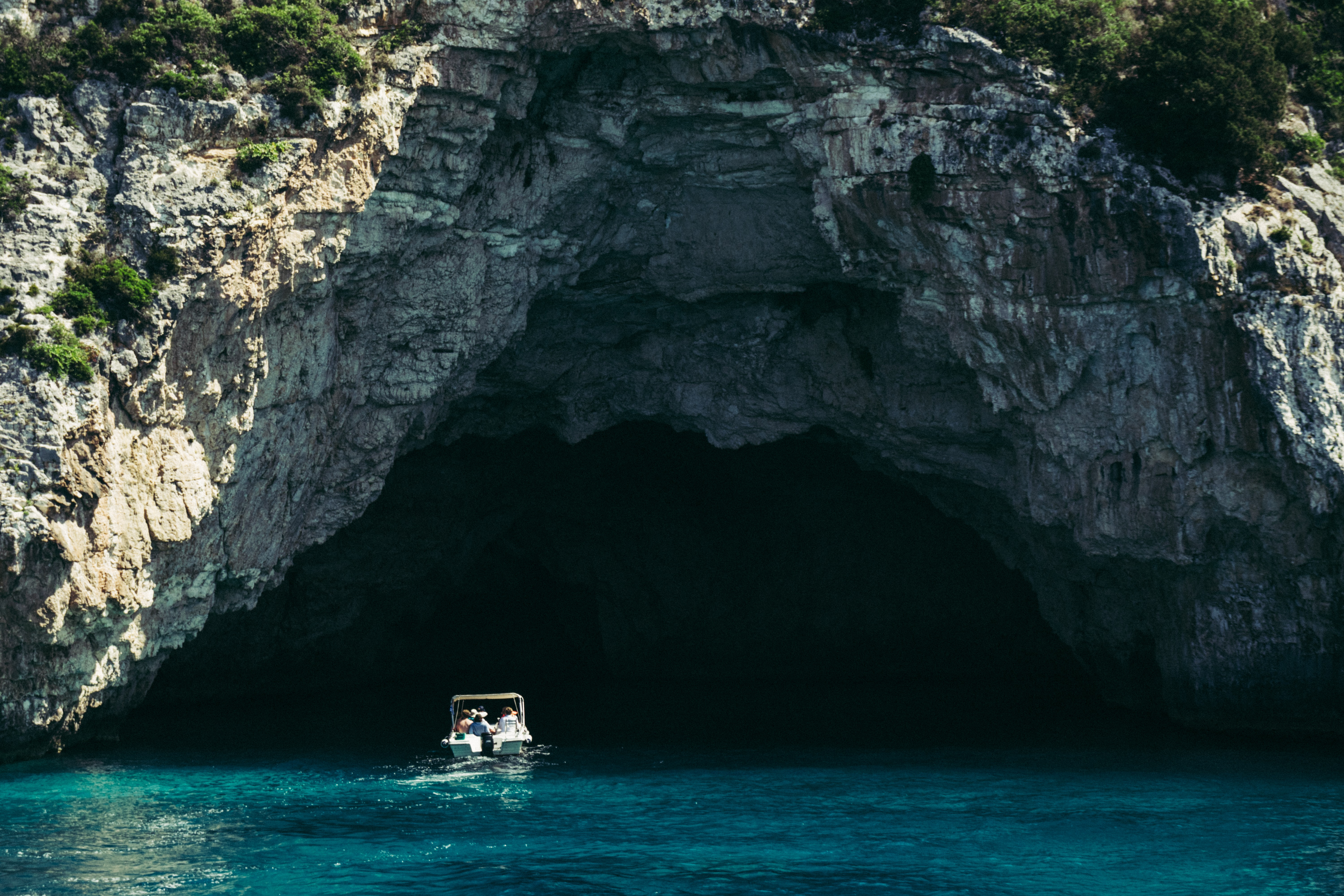 boat inside cave