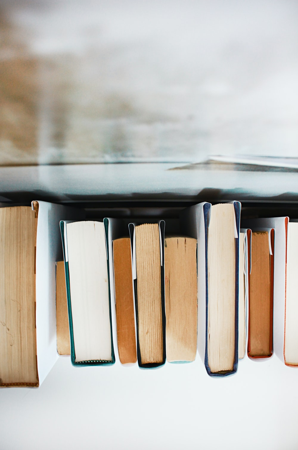 low angle photography of pile of books