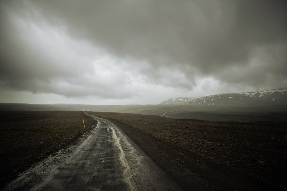 landscape photography of road between grass field under gray sky