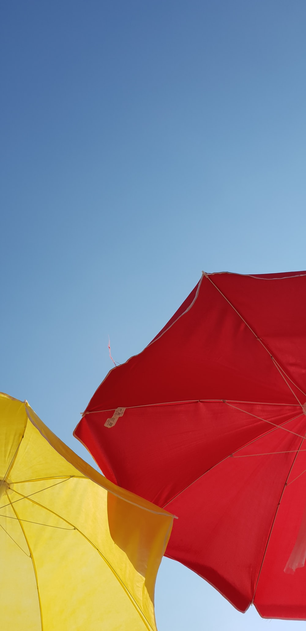 low angle photography of red umbrella