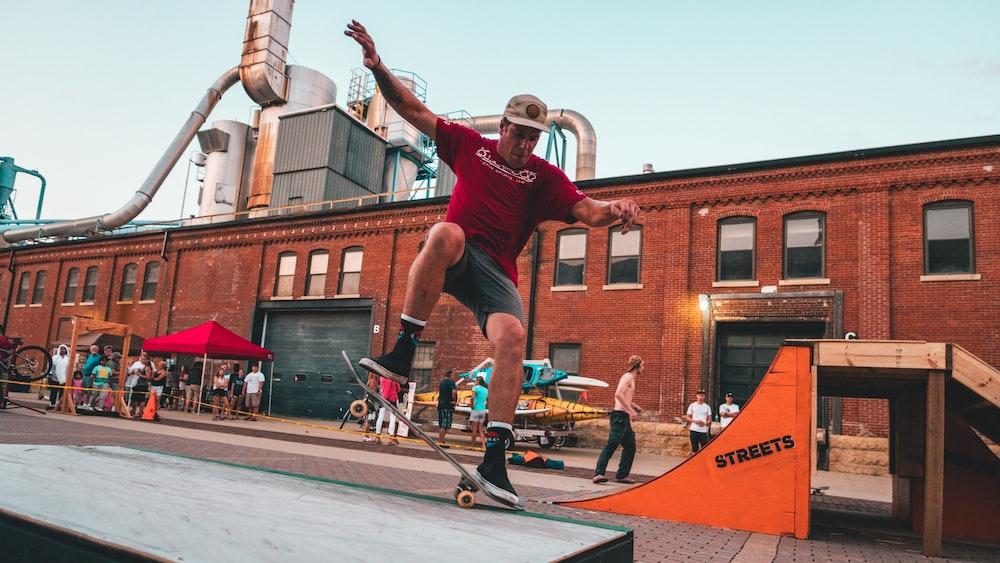 man skateboarding outdoors