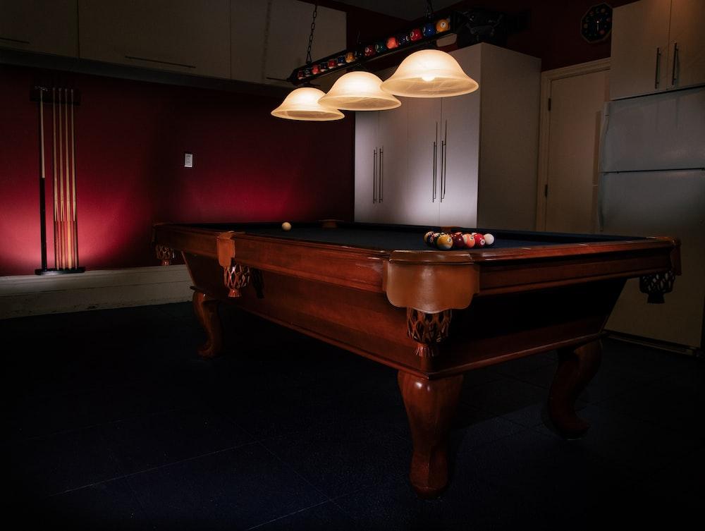 brown pool table