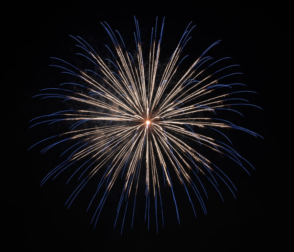 white and blue firework