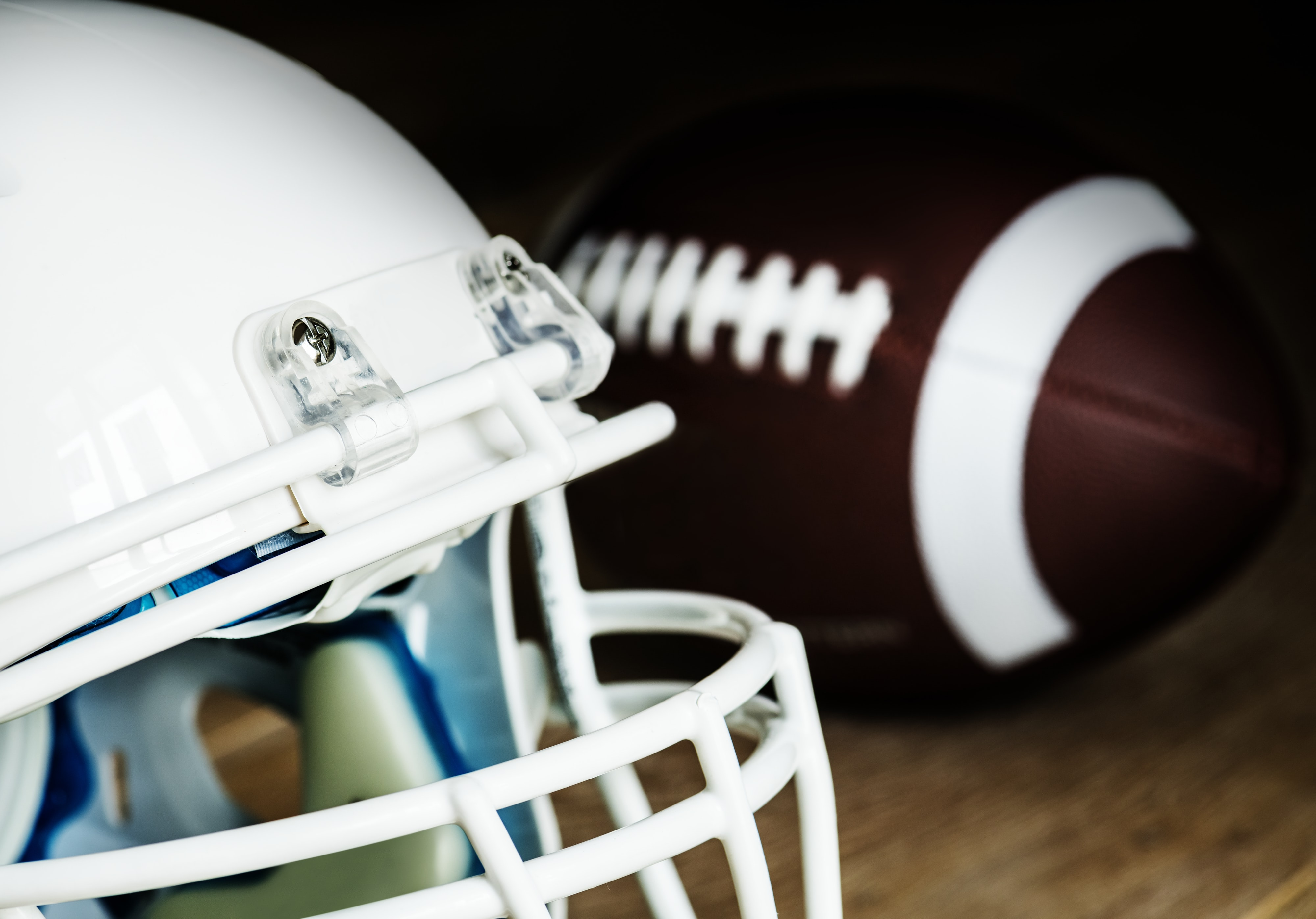 closeup of white football helmet