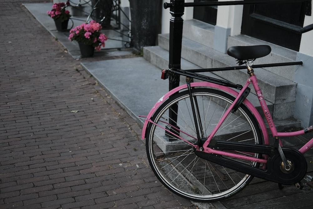 pink commuter bike