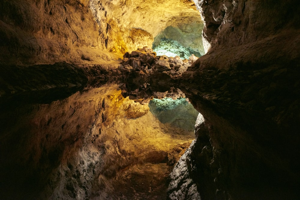 body of water inside cave