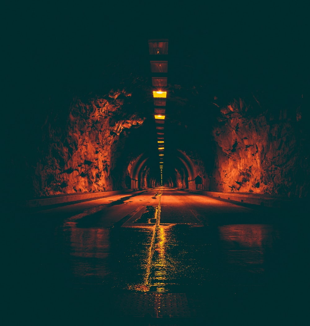 lighted tunnel road
