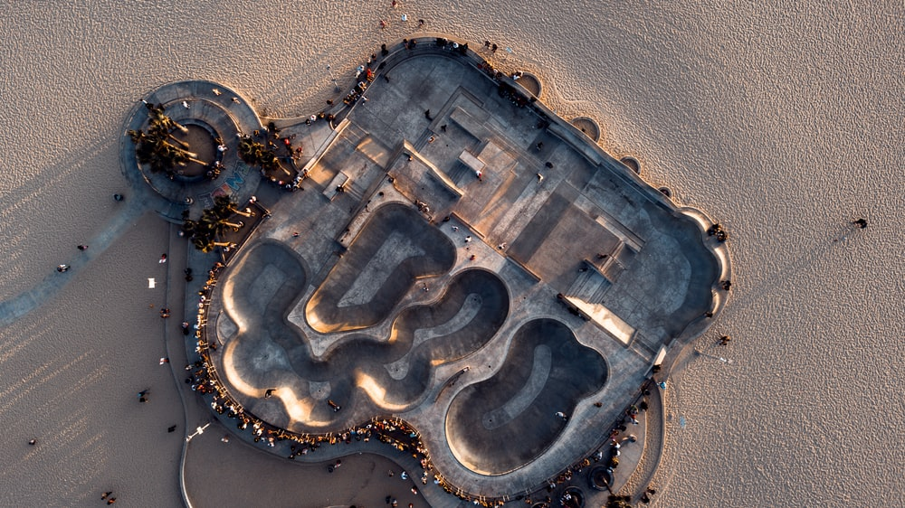 aerial photo of building surrounded by people
