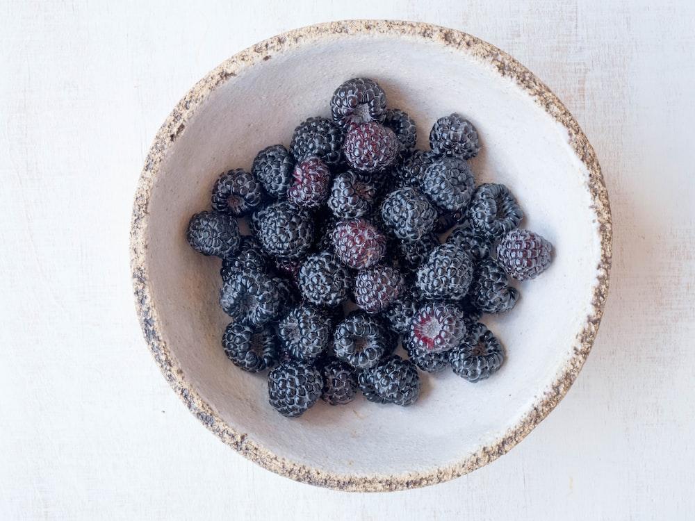 raspberries on bowl