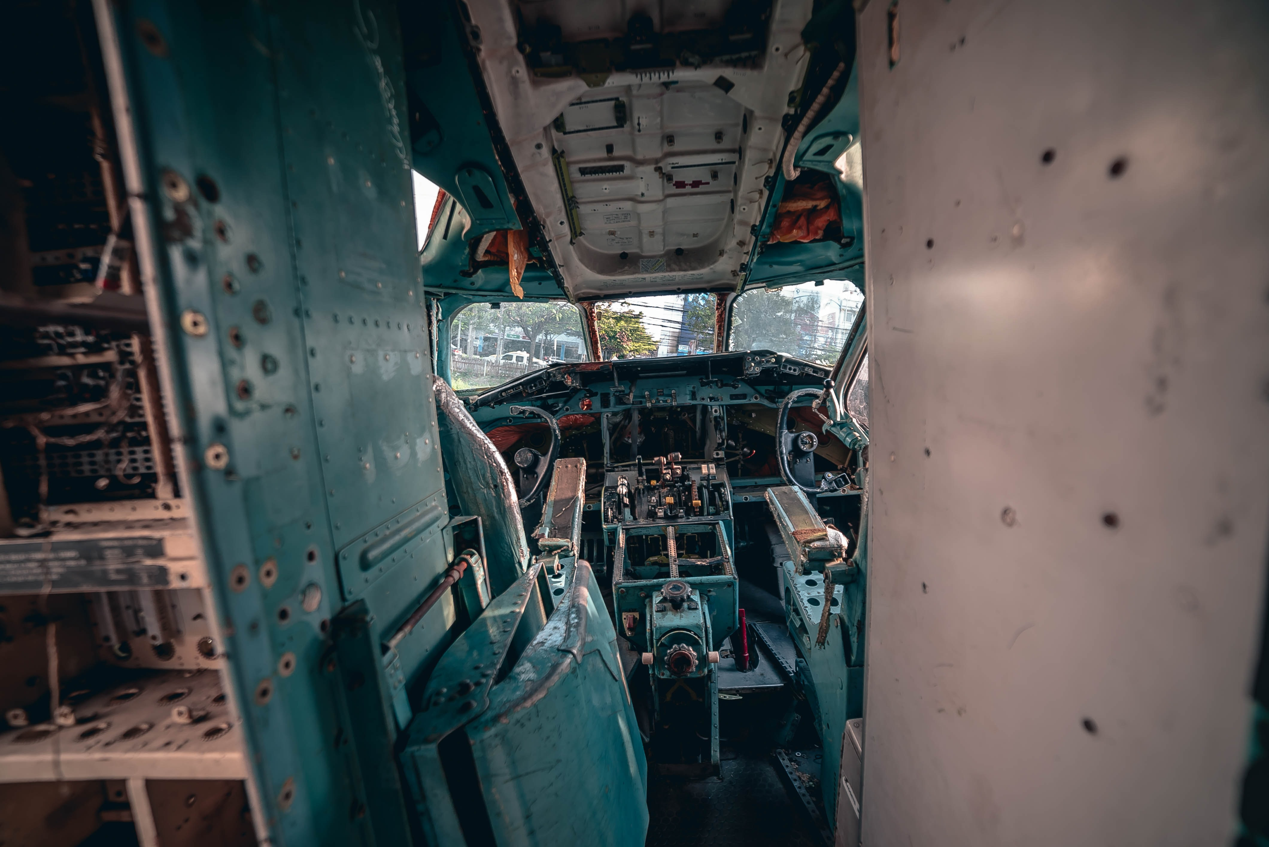 teal and white plane interior