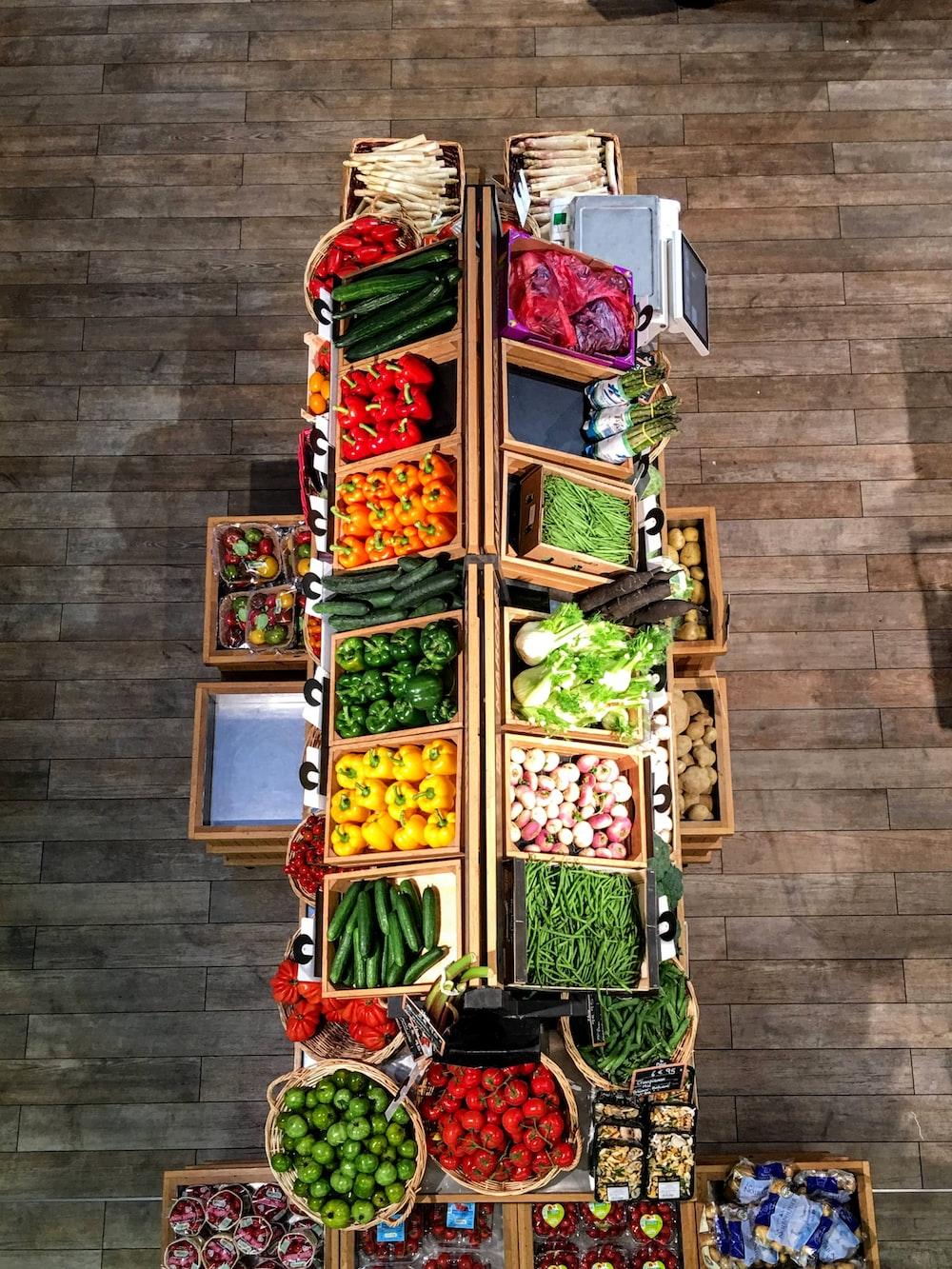 vegetables on rack