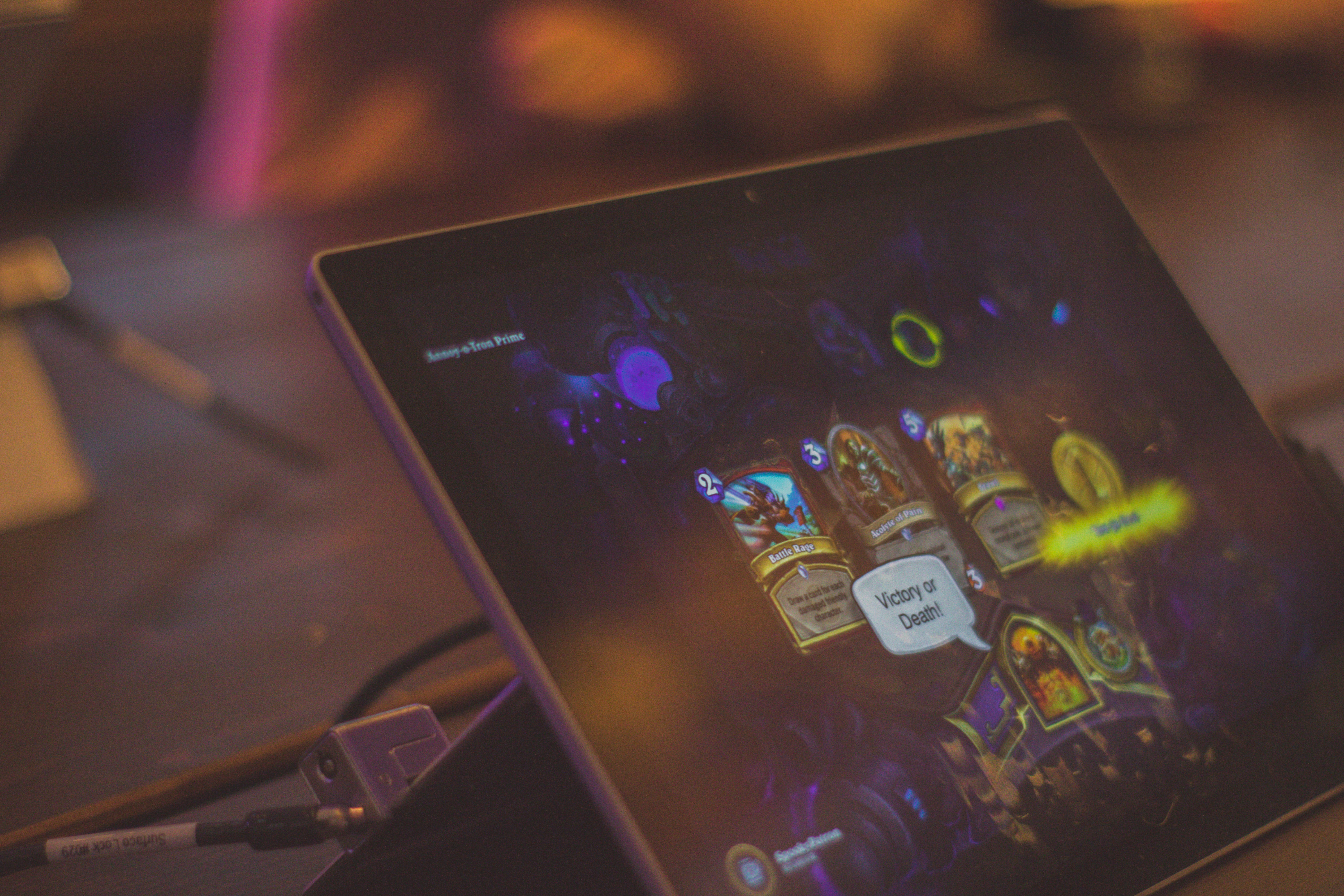 turned-on black Android tablet computer