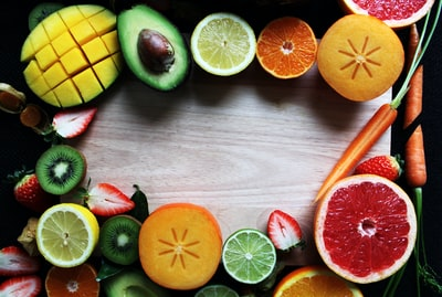 slices of fruits and vegetables vegetable teams background