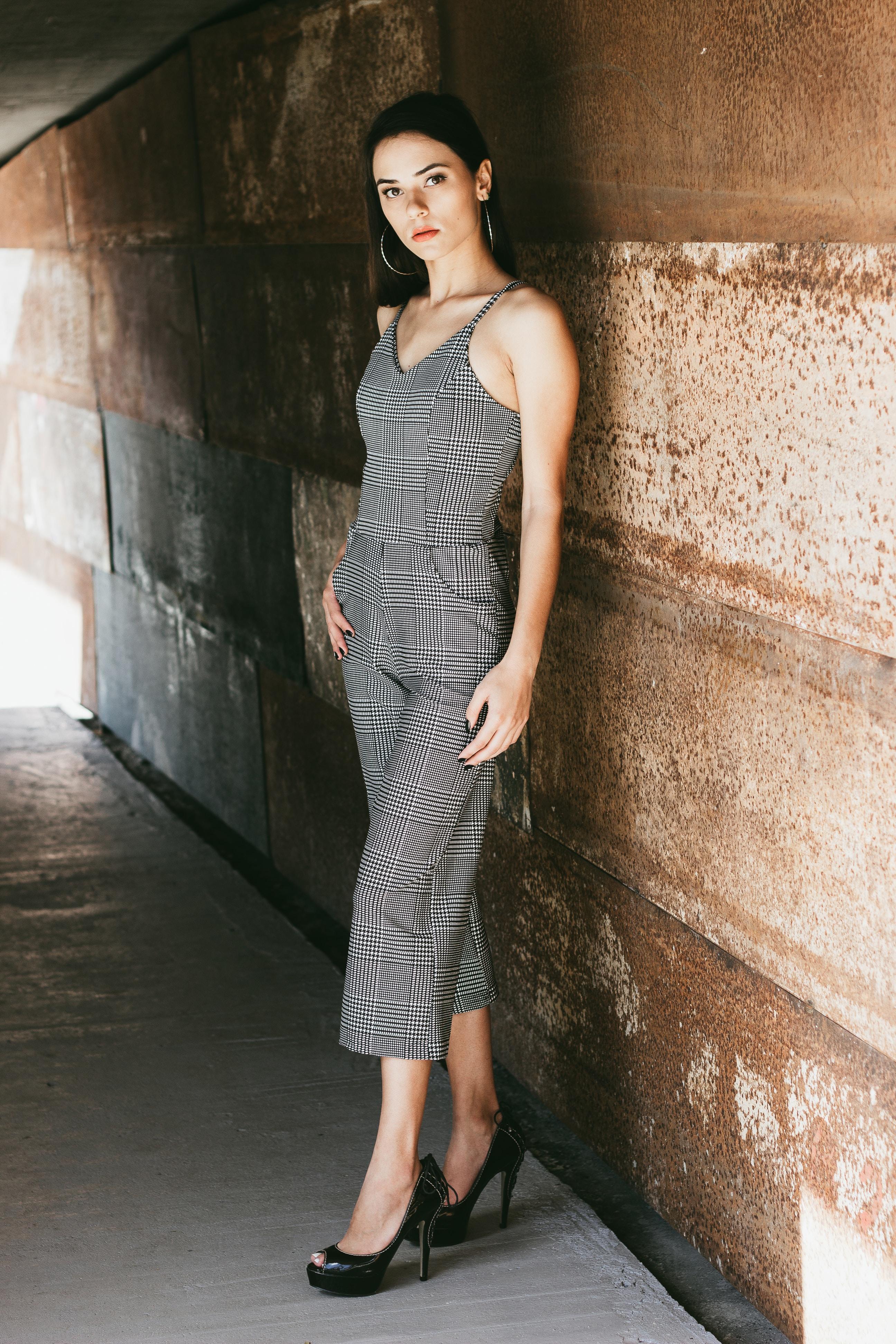 women's gray spaghetti strap jumpsuit