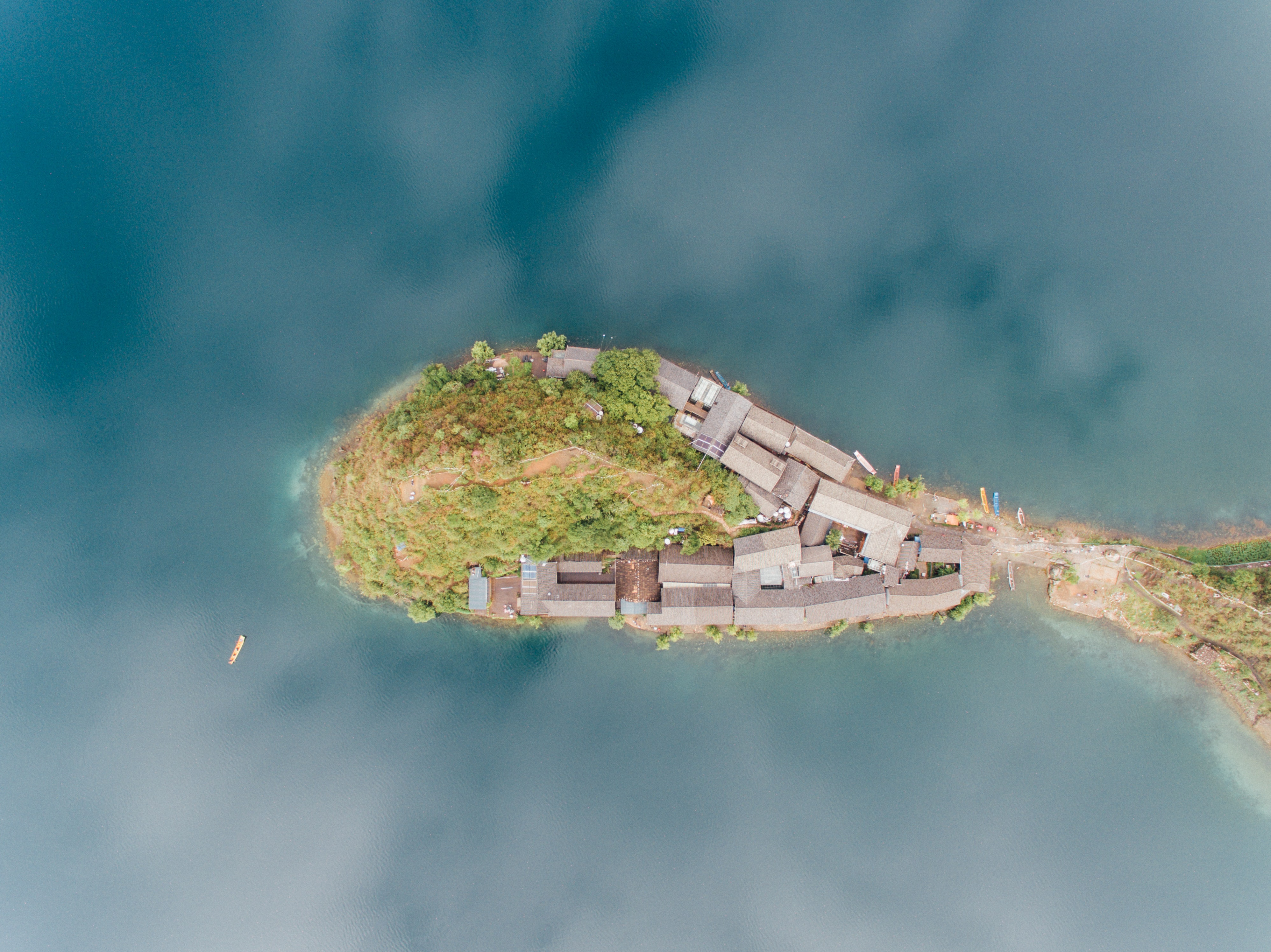 aerial shot of island