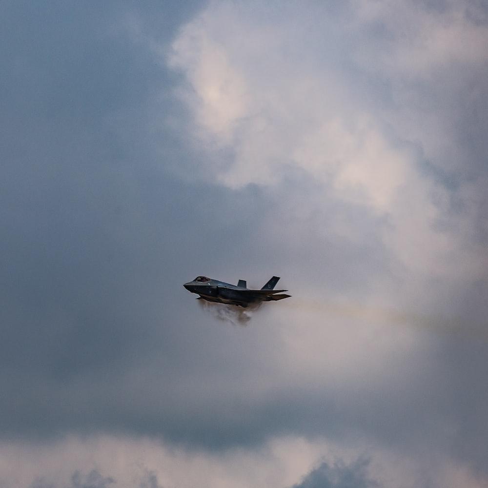 black fighter plane in sky
