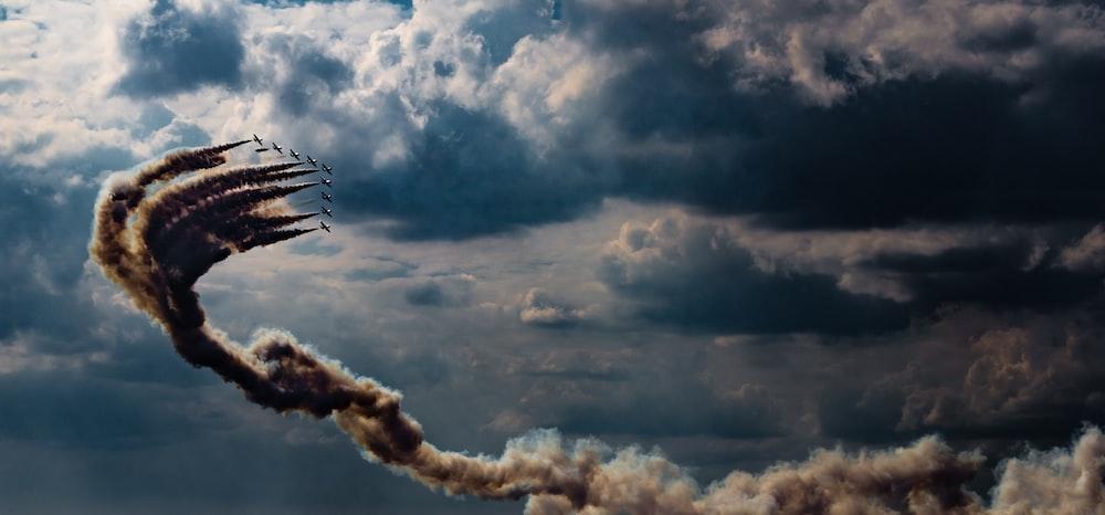 airshow under clouds