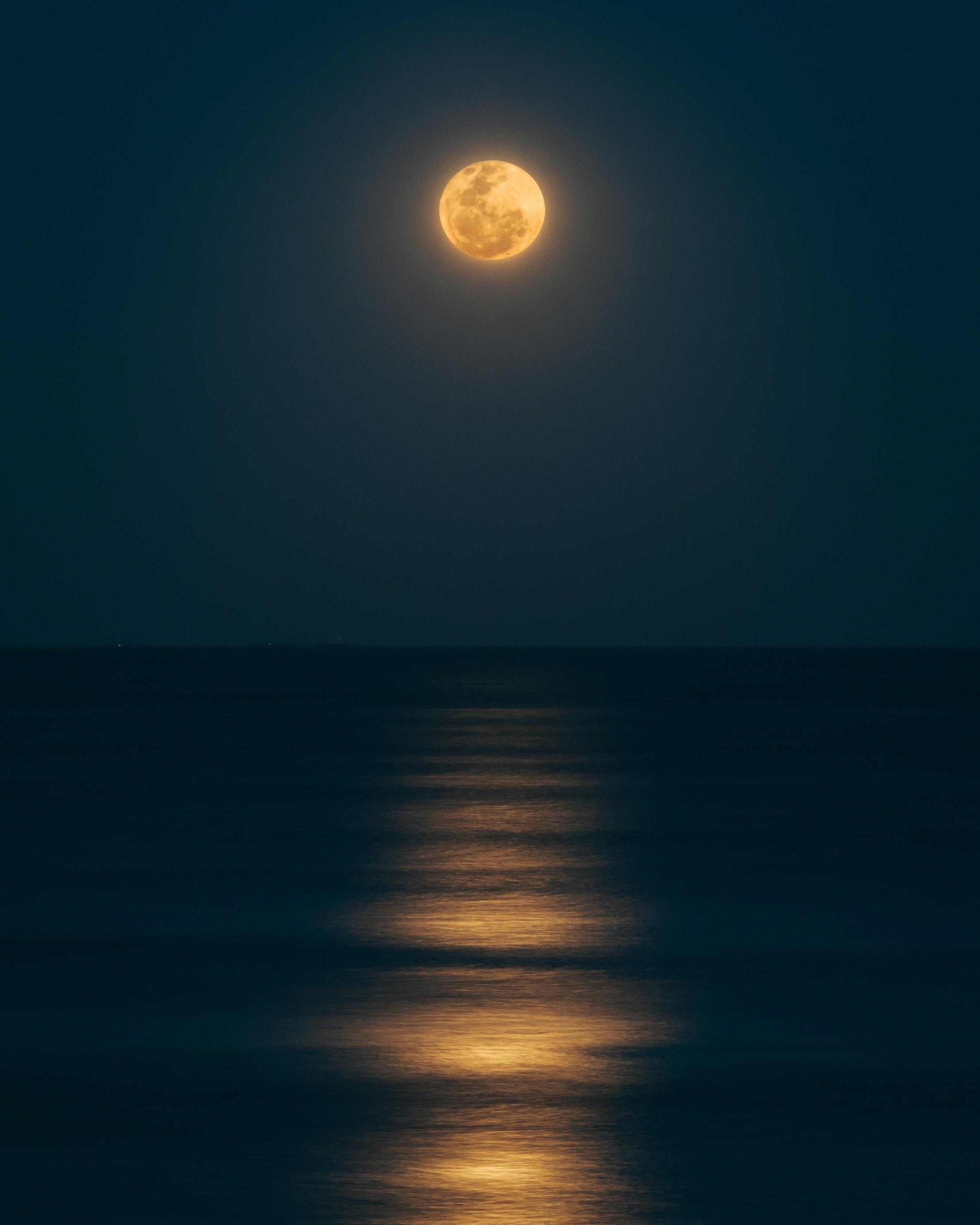 sea under full moon
