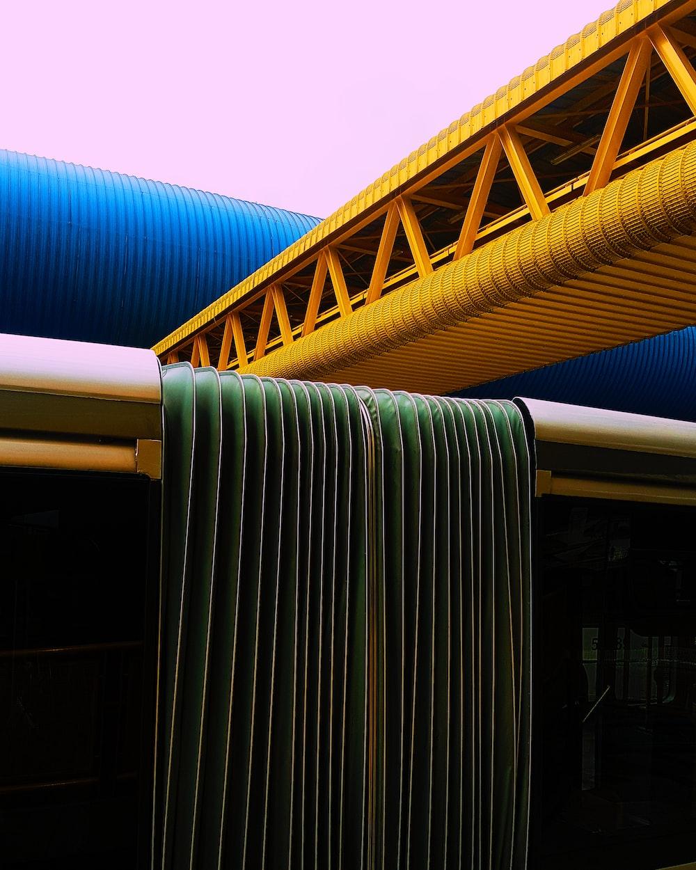 yellow foot bridge