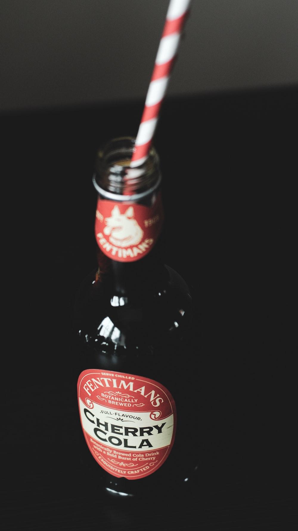 Fentiman's cherry cola bottle with straw