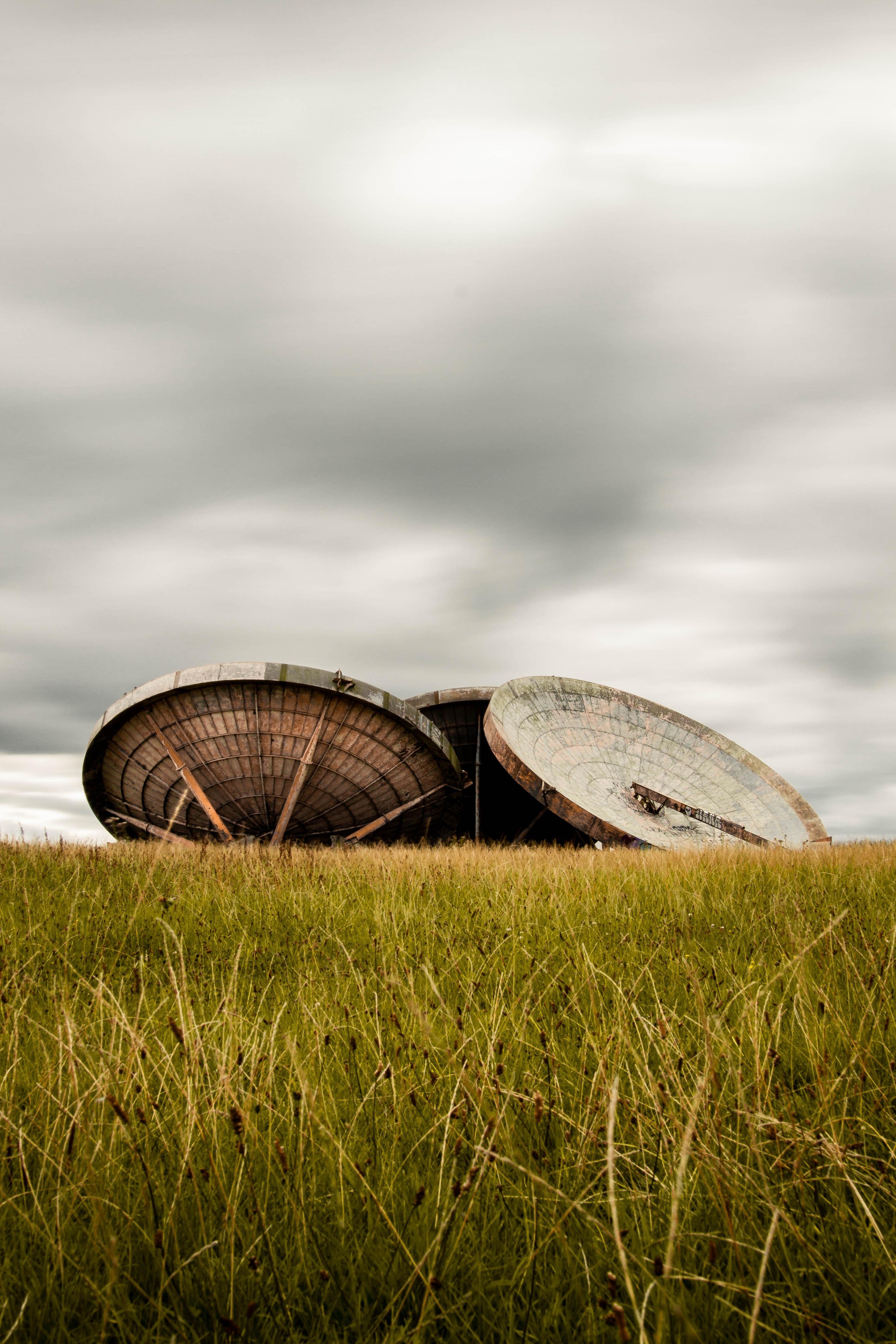 round brown wooden frames on green grass taken at daytime