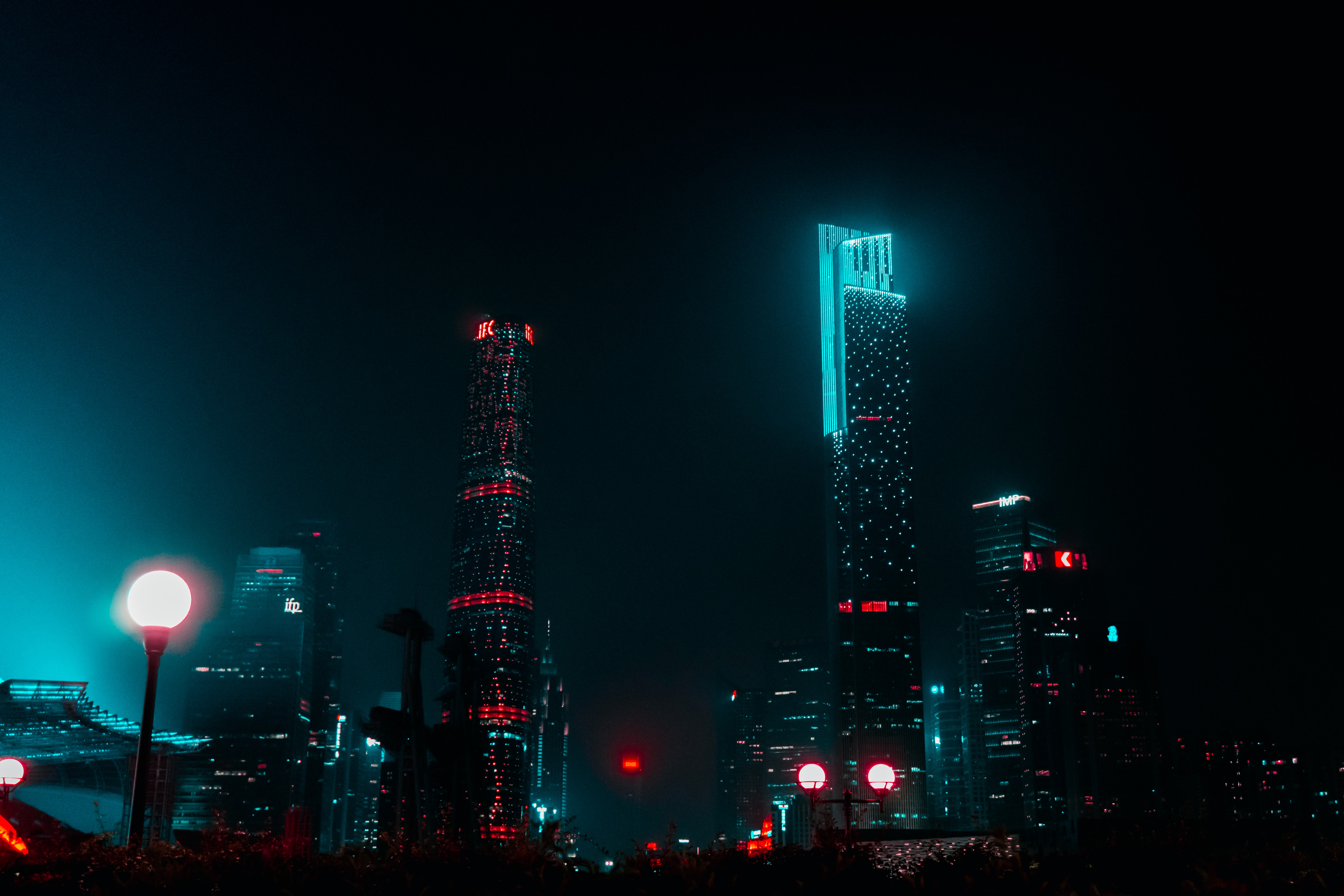high-rise buildings at nighttime
