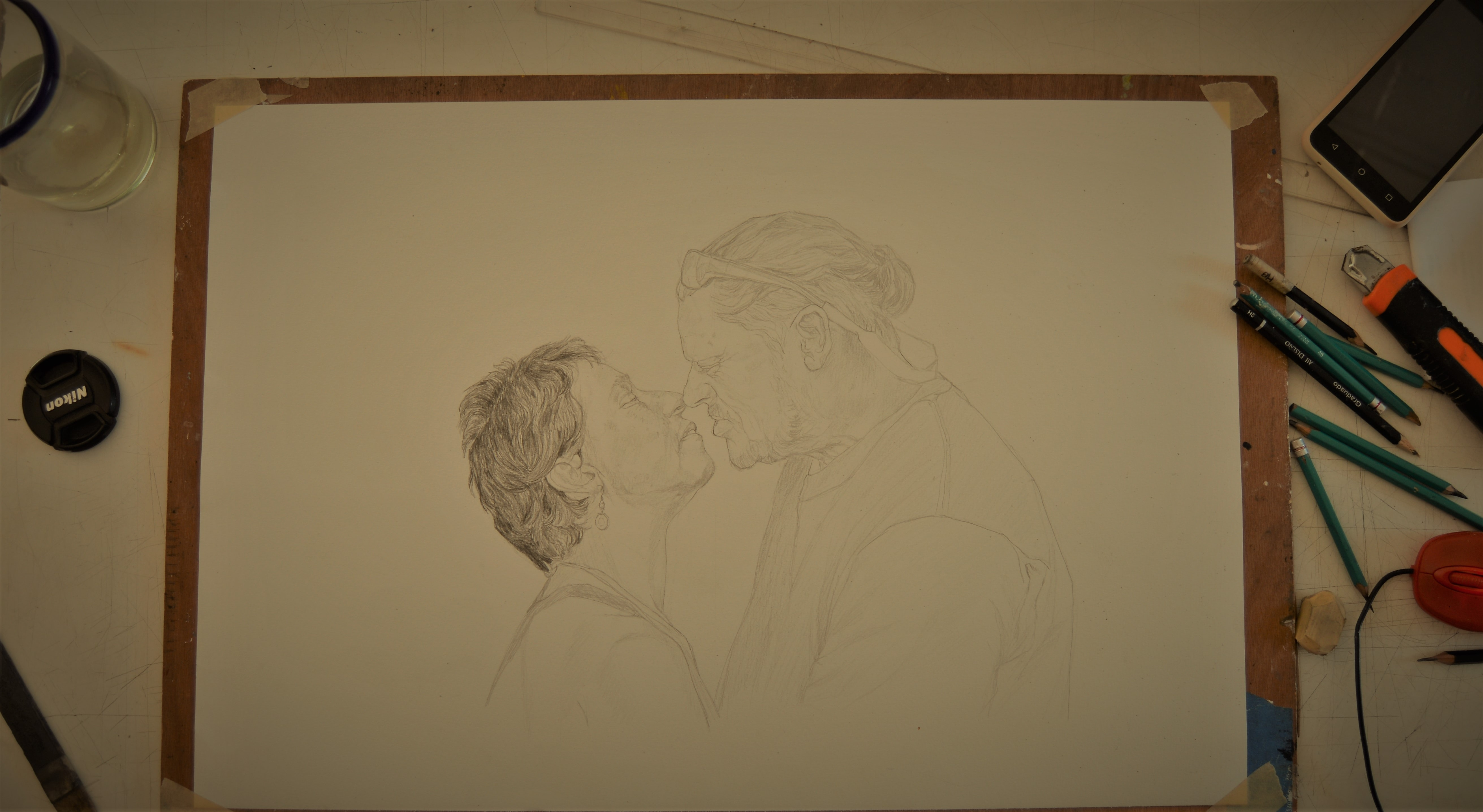 sketch of two people