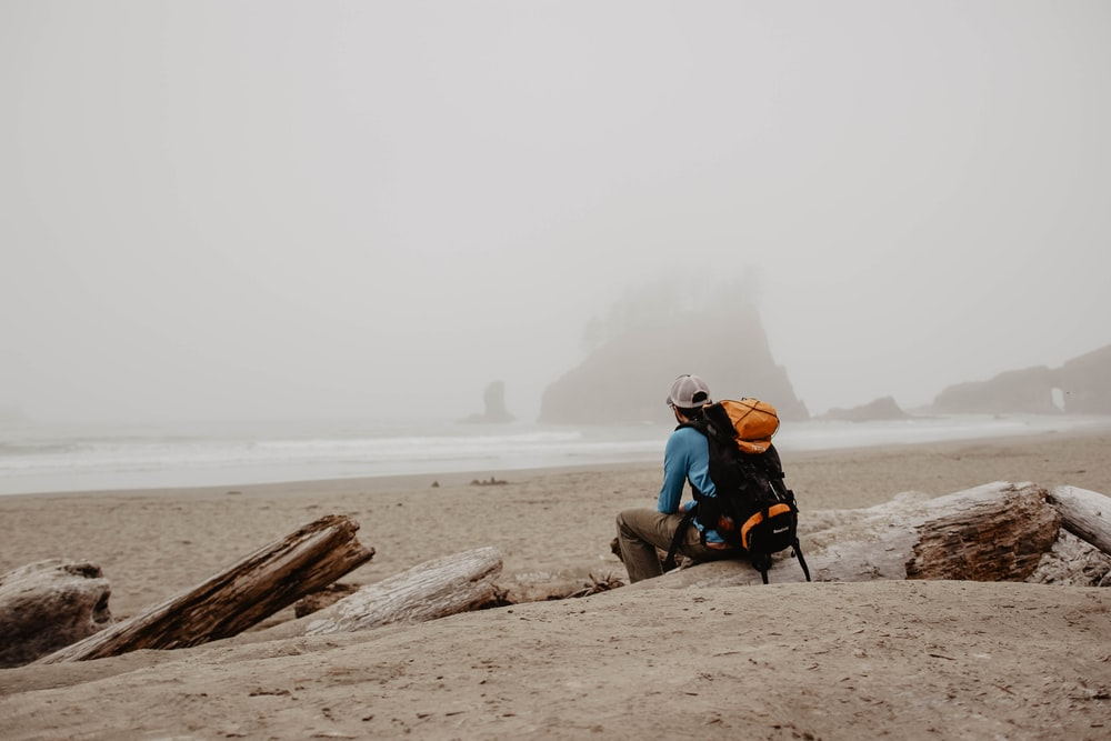 man wearing orange and black hiking backpack sitting on log on shore looking at distance during daytime