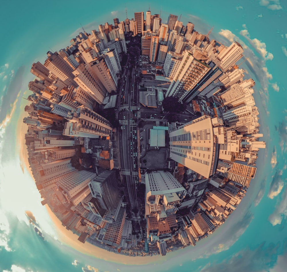 fish-eye photography of city