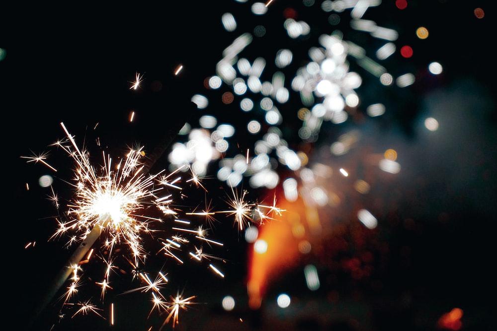 close up photo of lighted sparkler