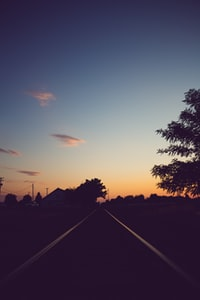 empty road photo at golden hour