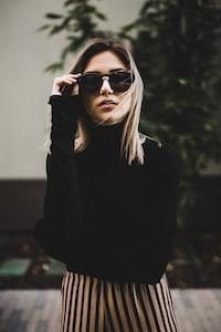 women's black turtleneck sweatshirt