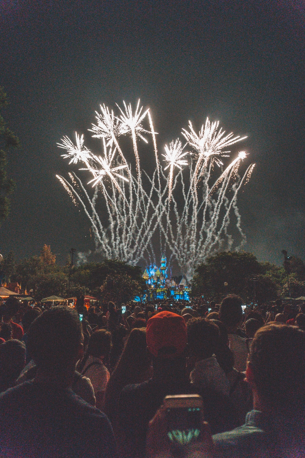 group of people standing watching firework display