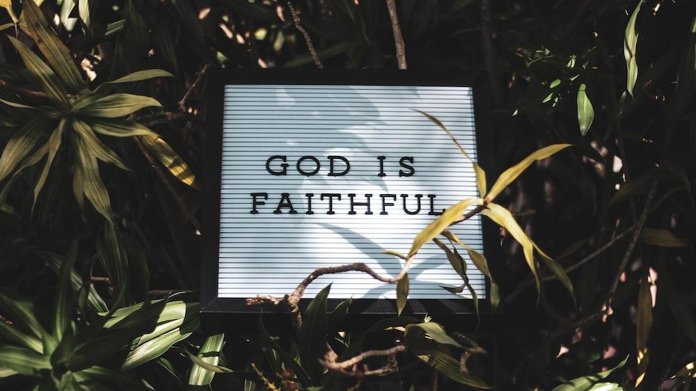 God is Faithful signage with leaved background