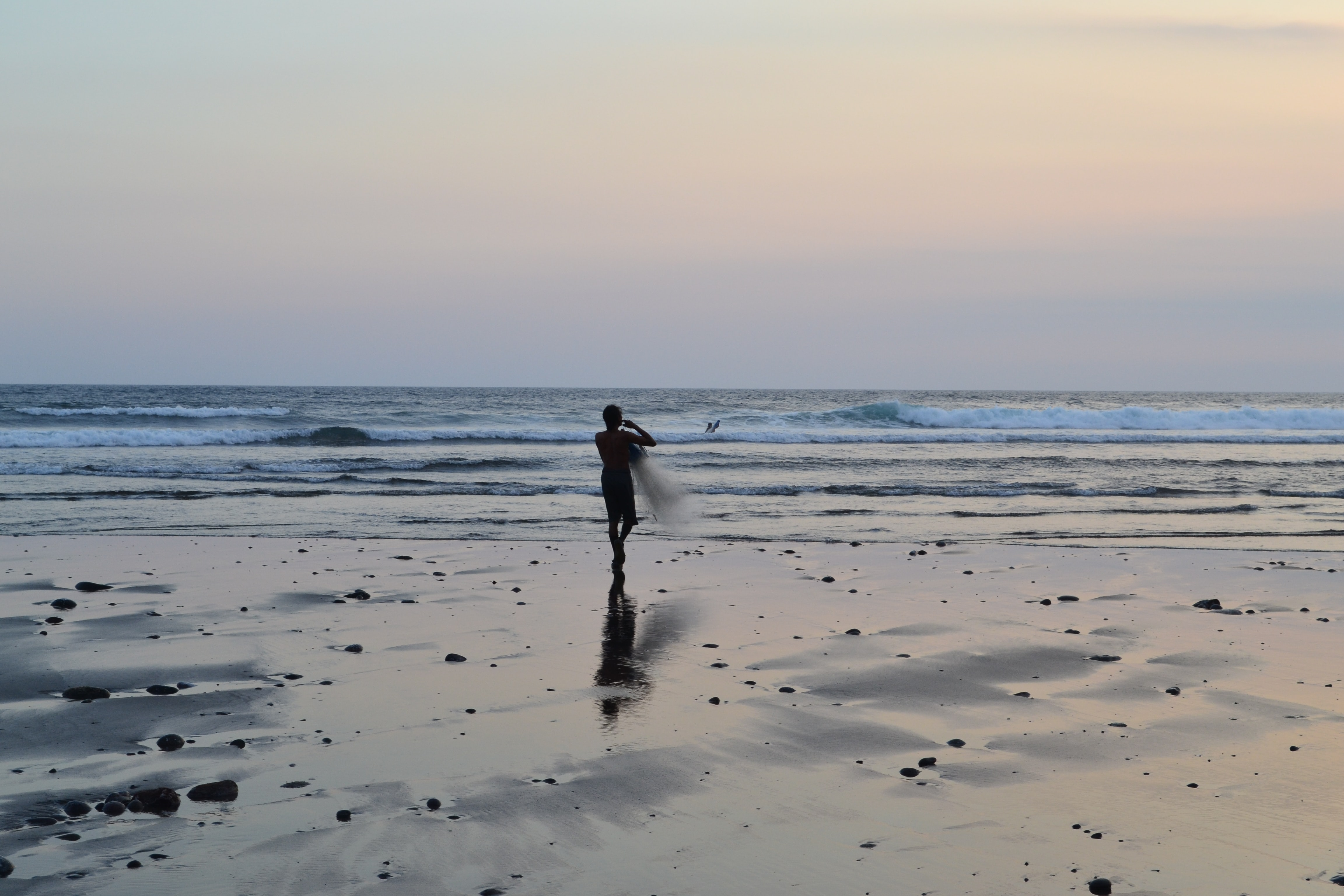 silhouette of person holding net near body of water